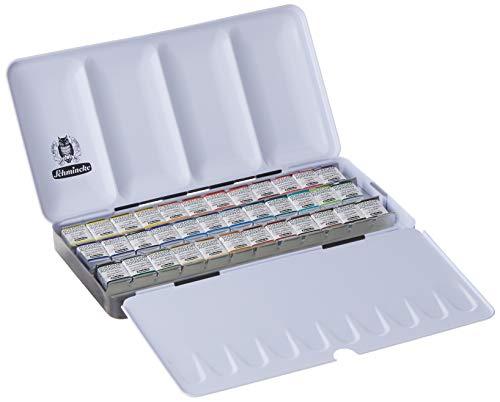 Schmincke Horadam Aquarell Half-Pan Paint Metal Set with 12 Open Spaces, Set of 36 Colors (74436097)