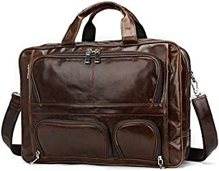 YXHM AU Men's Top Layer Genuine Leather Business Briefcase Cowhide Vintage Men's Handbag (Color : Coffee)