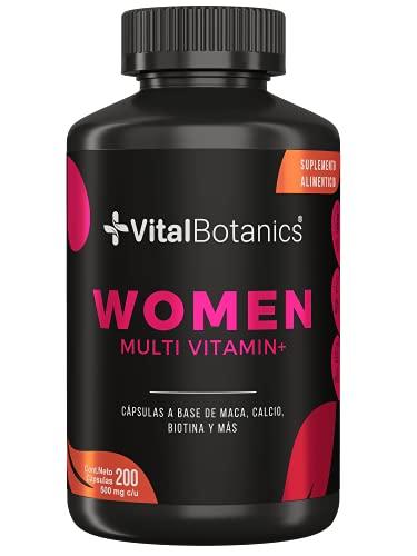 VitalBotanics Women Multivitamin + con 200 capsulas. Multivitamínico para Mujer de Alta Potencia con Colágeno Hidrolizado, Ácido Fólico, Biotina, Hierro, Calcio, Magnesio, Maca, Zinc y Vitaminas D, B1, B2, B3, B5, B6, B12, K1.