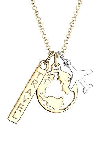 Elli Halskette Damen Globus Anhänger Stylish aus 925 Sterling Silber
