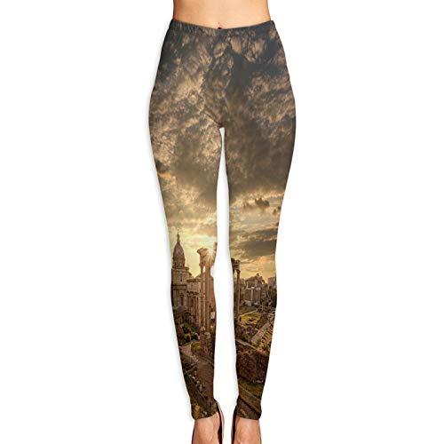 Pantalones de Yoga para Mujer,Famosas ruinas Romanas Roma Capital,Pantalones de Entrenamiento de Cintura Alta Medias elásticas de Yoga Impresas M
