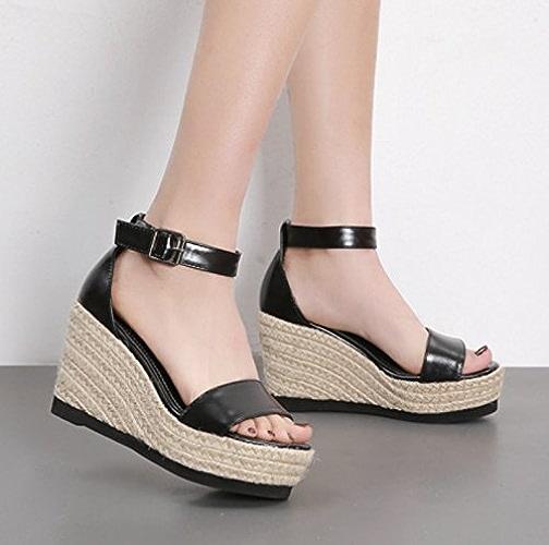SCLOTHS Tongs Femme Chaussures à fond épais d'orteil ouvert Paquet avec la pente