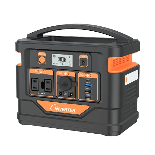 C INVERTER Portable Power Station 300W, 296Wh Solar Generator Mobile Backup Lithium Polymer Battery Pack with 110V 300W AC Outlet (Pure Sine Wave) for Outdoor Camping Emergency Home RV Health(Orange)