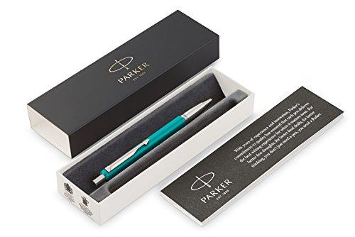 Parker Vector Penna a Sfera con Finiture Cromate, Punta Media, Inchiostro Blu, Confezione Regalo, Verde Smeraldo
