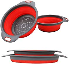 2PC Collapsible Colander, Kitchen Colander Strainer, Silicone Vegetable/Fruit Flexible strainer, Folding Strainer for Kitchen (Red Colanders)