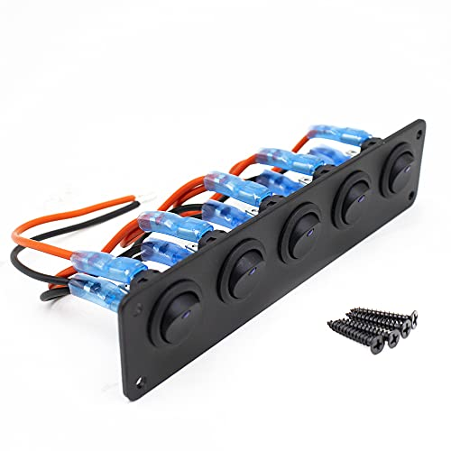 Dzanken Panel de interruptor, 12 V, interruptor basculante LED con cinco posiciones, 12 – 24 V, para máquinas generales, coches, caravanas, camiones, yates, control de circuito