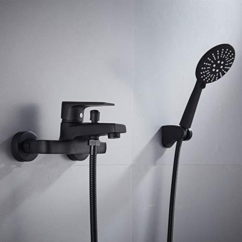 Oudan Taps Full Copper Body Bathtub Faucet Hot And Cold Shower Faucet Set Black B (color   -, Size   -)