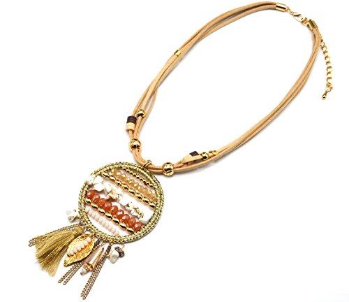 CC1240F-Abrazadera para cables, diseño de círculo con piedras de Macramé y perlas de colores y diseño étnico, color Beige con diseño de moda