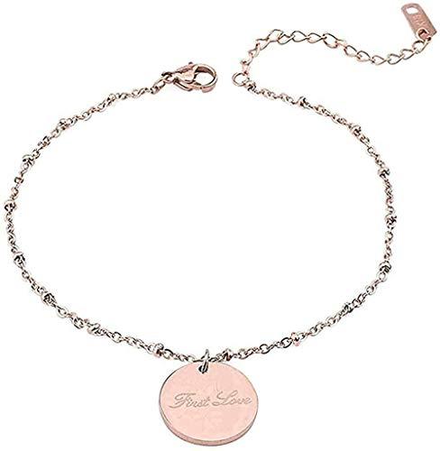 Yiffshunl Collar de Cadena de eslabones de Acero Inoxidable de Color Oro Rosa, Pulseras con Letras grabadas, Pulsera con Nombre, Longitud de 26 cm