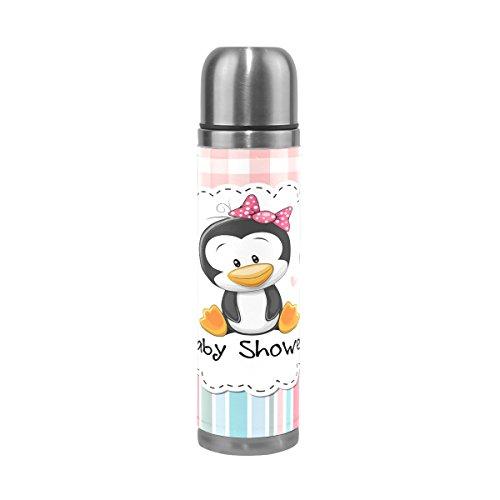 Alaza Pinguin Baby Dusche Edelstahl-Flasche 17Oz Wand Vakuum Isoliert Thermoskanne Echt Leder verpackt hält Getränke Heiß und Kalt Medium rose
