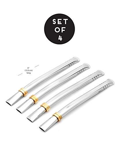 BALIBETOV Set de Bombillas (Sorbetes) de Acero Inoxidable para Beber Yerba Mate- 16cm de Largo. (Plateado Set de 4)