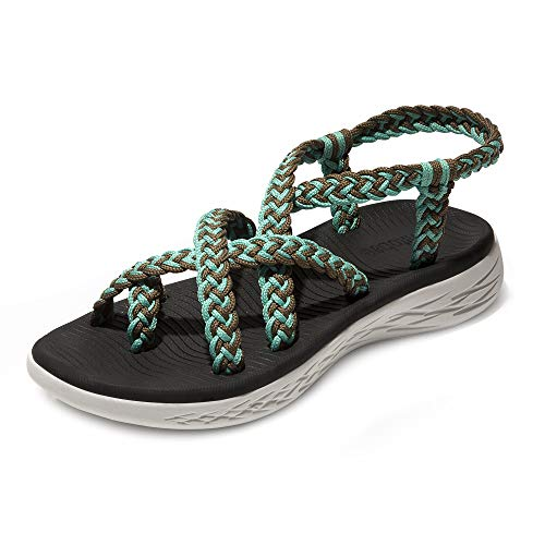 chitobae Comfortable Lightweight Soft Strappy Flat Sandals for Women(7 M US, Lake Blue Brown/Black Bottom)