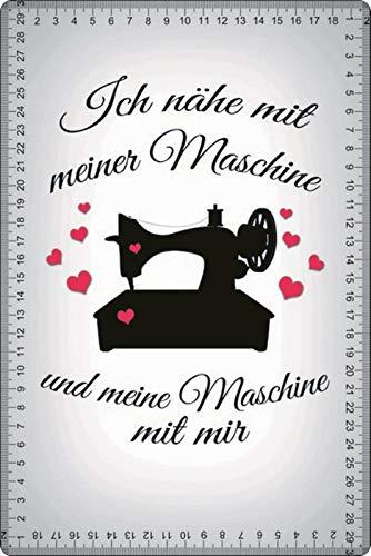 Metalen bord 20x30cm Ik naaien met mijn machine naaimachine naaien metalen bord