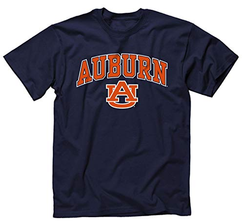 Campus Colors NCAA Adult Arch & Logo Soft Style Gameday T-Shirt (Auburn Tigers - Navy, Small)