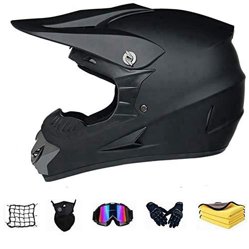 Bambino esterno Casco da motociclista, Casco da cross con mascherina guanti occhiali, Caschi da MTB integrale set per moto da fuoristrada da fuoristrada in discesa, per Quad Bike ATV Go-kart. (S)