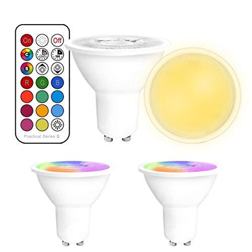 YAYZA! 2er-Pack Premium Dimmbar GU10 6W RGB + Warmweiß 3000K Farbwechsel IR Fernbedienung LED-Strahler Downlight Glühbirne