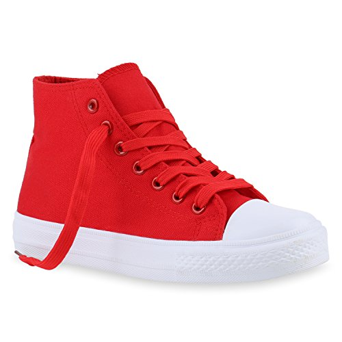 stiefelparadies Damen Sneakers High Top Sportschuhe Stoffschuhe Freizeit Schnürer 140034 Rot Red 37 Flandell