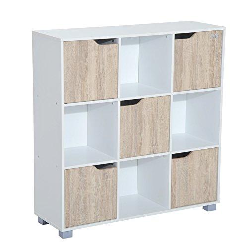 homcom Libreria Design Classico da Terra con 9 Scompartimenti Legno Massello 89.5 × 30 × 93cm Bianco, Rovere