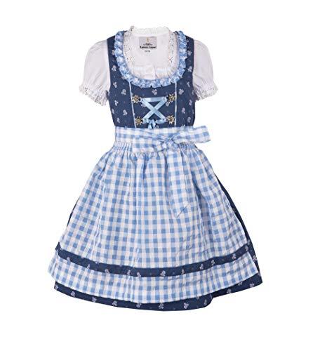 Ramona Lippert® - Kinder Dirndl für Mädchen - Kinderdirndl Chrissi in blau - 3-teiliges Trachtenkleid - Trachtenmode - Tracht mit Schürze … (146/152)