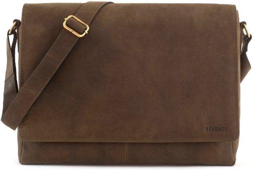 LEABAGS Oxford Umhängetasche Laptoptasche 15 Zoll aus Leder im Vintage Look, Olive