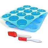 12 stampi in silicone per muffin e cupcake, antiaderenti e lavabili in lavastoviglie, adat...