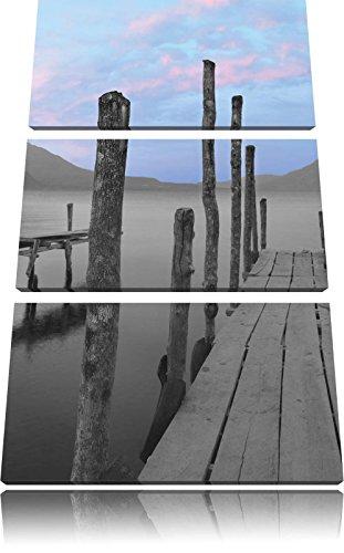 verschillende promenades aan het meerFoto Canvas 3 deel | Maat: 120x80 cm | Wanddecoraties | Kunstdruk | Volledig gemonteerd