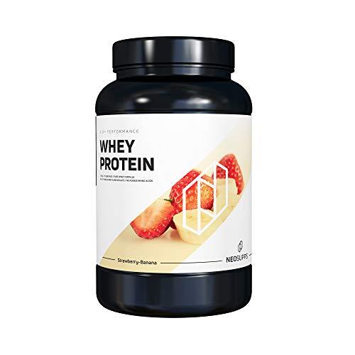 Premium Whey Protein für Muskelaufbau & Abnehmen in leckeren Geschmäckern | Low Carb Eiweiß-Shake, Eiweiß-Pulver mit Aminosäuren (BCAA) | 1kg NeoSupps Protein Pulver – Erdbeere Banane