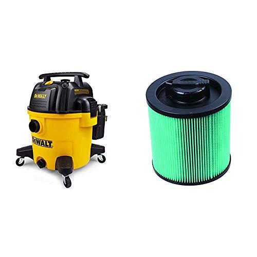 DeWALT DXV10P 10 Gallon Quiet Poly Wet Dry Vacuum Yellow & Cartridge Filter-HEPA 6-16 gal