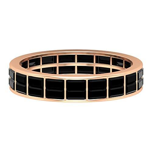 Anillo de eternidad de diamante negro creado de 2,25 quilates para mujer (calidad AAAA), oro de 14 quilates negro