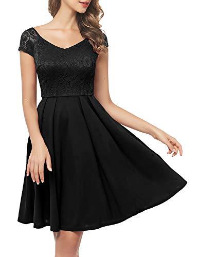 Bbonlinedress schwarzes Kleid Damen cocktailkleid Damen Rockabilly Kleider schwarz Damen Kleider Hochzeit Abendkleider lang Geschenk für Frauen Petticoat Kleid Black L