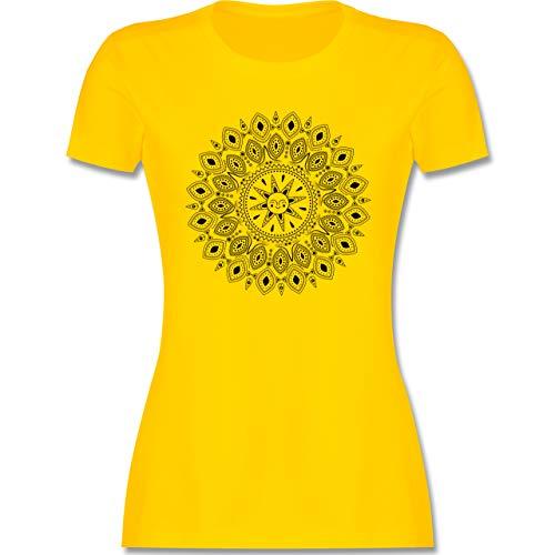 Kunst & Kreativität - Boho Mandala Yoga Sketch - S - Gelb - Mandala Tshirt - L191 - Tailliertes Tshirt für Damen und Frauen T-Shirt