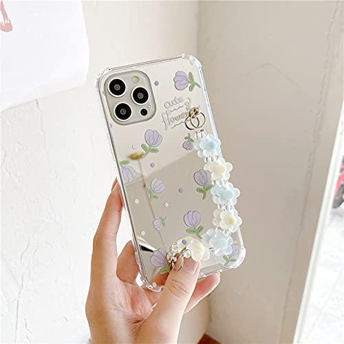 LIUYAWEI Fashion Fresh Cute Flowers Chain Phone Case para iPhone 11 Pro MAX 12 Mini 7 8 Plus X XR XS MAX SE 2020 Mirror Hard Cover Cases, CW324, For, iPhone7