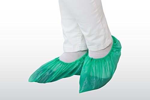 100 Überschuhe extra groß - grün - 15 x 41 cm - extra groß (PE Einmal OP Schuhüberzieher Überziehschuhe Einwegüberschuh Schuhüberzug)
