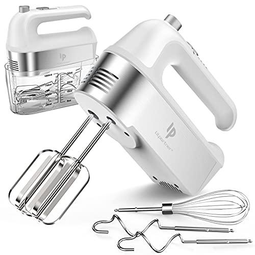 Handmixer Elektrisch, 450W-Küchenmixer mit Scale Cup-Aufbewahrungskoffer, Turbo-Boost / Selbststeuerungsgeschwindigkeit + 5-Gang + Auswurftaste + 5 Edelstahlzubehör, für einfaches Schlagen von Teig