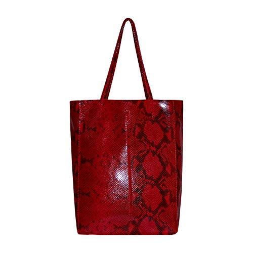 SKUTARI original Damen Leder Shopper Vittoria Serpente Rot | Handtasche in Schlangenleder-Optik mit eingenähter Innentasche | Beuteltasche Tragetasche | 36 x 38 x 13 cm