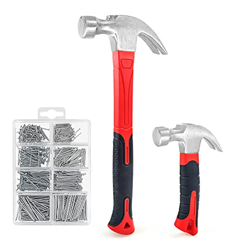 C&T 2 Piece Hammer Set ,8oz Stubby Claw Hammer With Magnetic Nail Starter & 16oz Fiberglass General Purpose Claw Hammer & 560pcs Hardware Nail Assortment Kit, Soft Nonslip Handle & Heat Treated Head