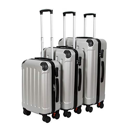 3er VOSSBACH Kofferset Trolley Koffer Set Hartschalenkoffer Reisekoffer Gepäck Hartschalen Rollkoffer Silber