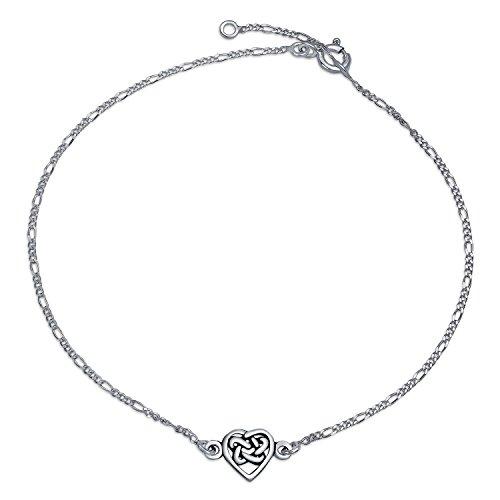 Celtic Triquetra Love Knot Heart Shape Anklet Ankle Bracelet For Women 925 Sterling Silver Adjustable 9 To 10 Inch