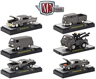 M2 Machines New 1:64 Titanium Collection - Titanium Release 1 Assortment Acrylic CASE Diecast Model Car Set of 6 Cars