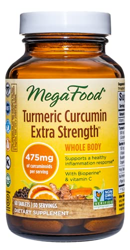 MegaFood, Turmeric Curcumin Extra Strength, Whole Body, Supports a Healthy Inflammation Response, Dietary Supplement, Vegan, 60 Tablets