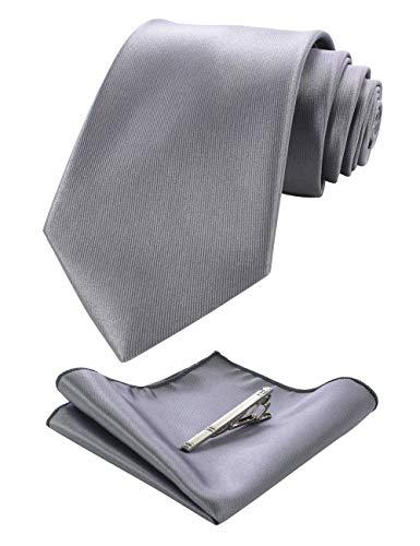 JEMYGINS Silber Grau Krawatten und Einstecktuch Set für Herren seide Krawatte krawattenklammer Seidenkrawatten Hochzeit Schlips(6)