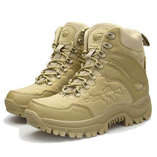 Wygwlg Chaussures de sécurité pour Hommes, Bottes de Combat pour Le désert Militaire, Bottes de randonnée imperméables de Faible Hauteur, Bottes de Protection d'action,Sand color-46