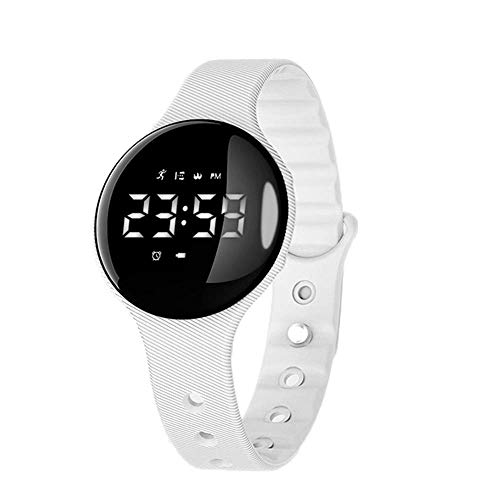 PLYY The children watch waterproof electronic alarm cute beginner students watch girls watch the boys silently vibrating alarm,White