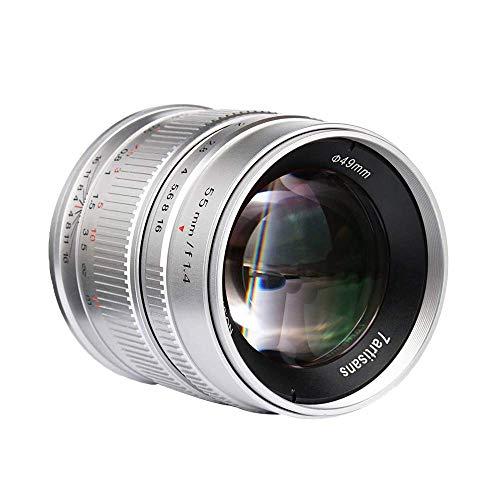7artisans 55mm F1.4 APS-C Groot diafragma Handleiding Focus Prime Vaste Lens Voor Canon EOS-M Mount Camera's M1,M2,M3,M5,M6,M10,M100- Sliver
