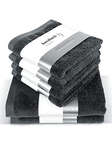 herzbach home Juego de toallas de lujo de alta calidad, 100% algodón, 4 toallas de mano de 50 x 100 cm, 2 toallas de ducha de 70 x 140 cm (antracita)