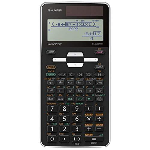 Sharp EL-W531 TG-WH Wetenschappelijke schoolrekenmachine (WriteView-weergave, D.A.L.-ingave, werkt op zonne-energie) wit/zwart