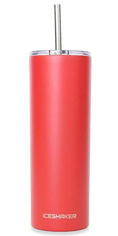 Ice Shaker 20 oz Skinny Tumbler (Red)- Stainless Steel Tumbler & Insulated Water Bottle With Straw - Vacuum Insulated Tumbler For Hot and Cold Beverages - Tumbler With Lid Holds Ice for 30+ Hours