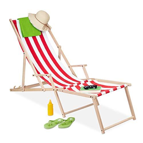 Relaxdays Liegestuhl Holz & Stoff, 3 Liegepositionen, mit Armlehne & Fußteil, bis 120kg belastbar, Gartenliege, weiß/rot