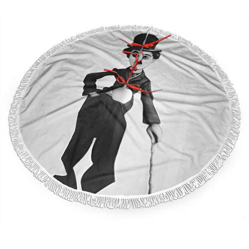 Jywdx Charlie Chaplin Christmas Tree Skirt - High-End Soft Classic Christmas Tree Decoration Merry Christmas Party New Year Party Holiday Indoor Outdoor Ornament