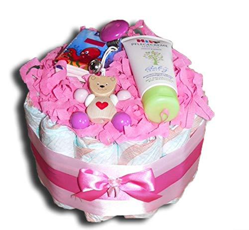WindeltortenZauber - Mini-Windeltorte Teddy Mädchen Babygeschenk Babyparty Babyshower Taufe Geburt Mitbringsel (37 Windeln) (19 Windeln)